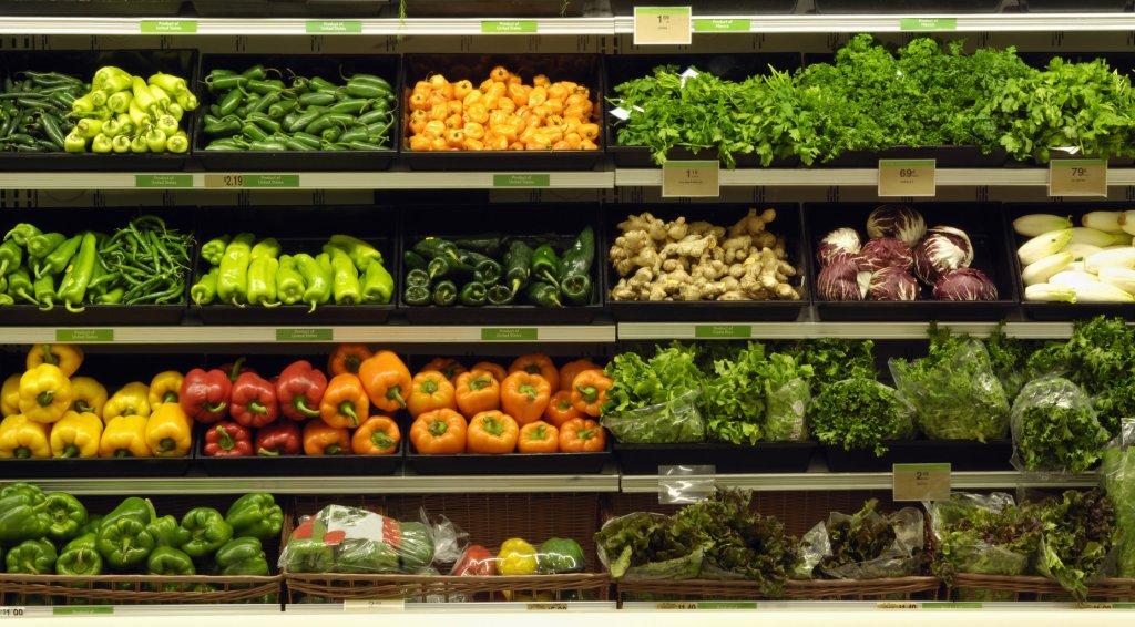 Grocery shelf of vegetables