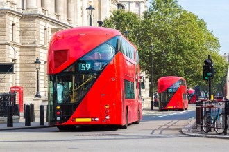 Modern red double decker bus, London, England, United Kingdom
